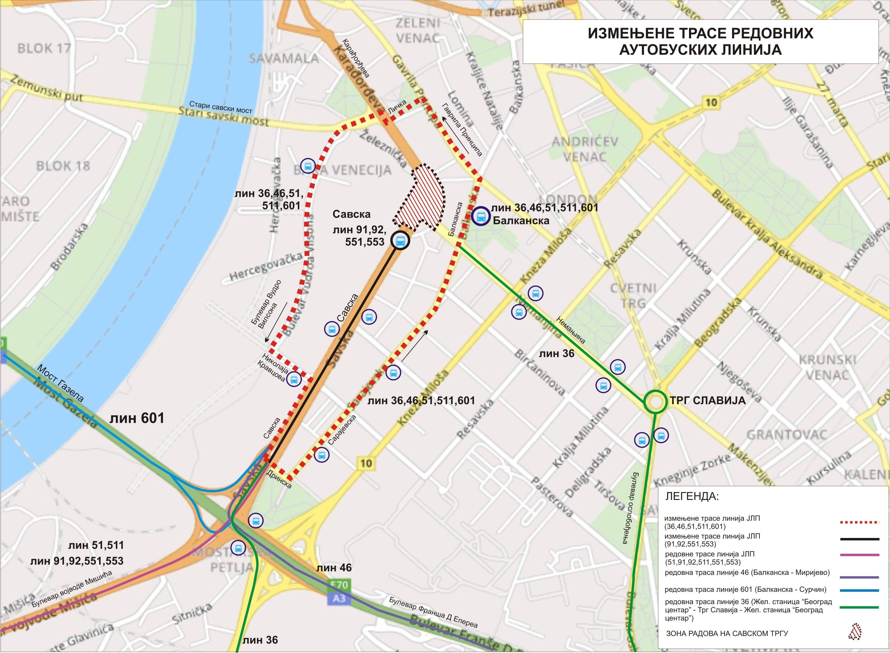 Mapa - Trase izmena redovnih linija zbog radova na Savskom trgu (od 29.02.2020)