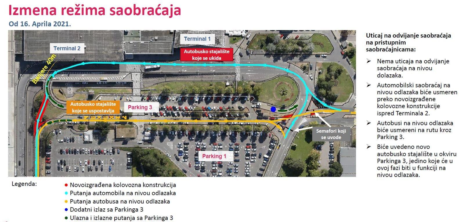 Mapa - Izmeštanje stanice kod Terminala 1 zbog radova na Aerodromu Nikola Tesla (od 20.04.2021)
