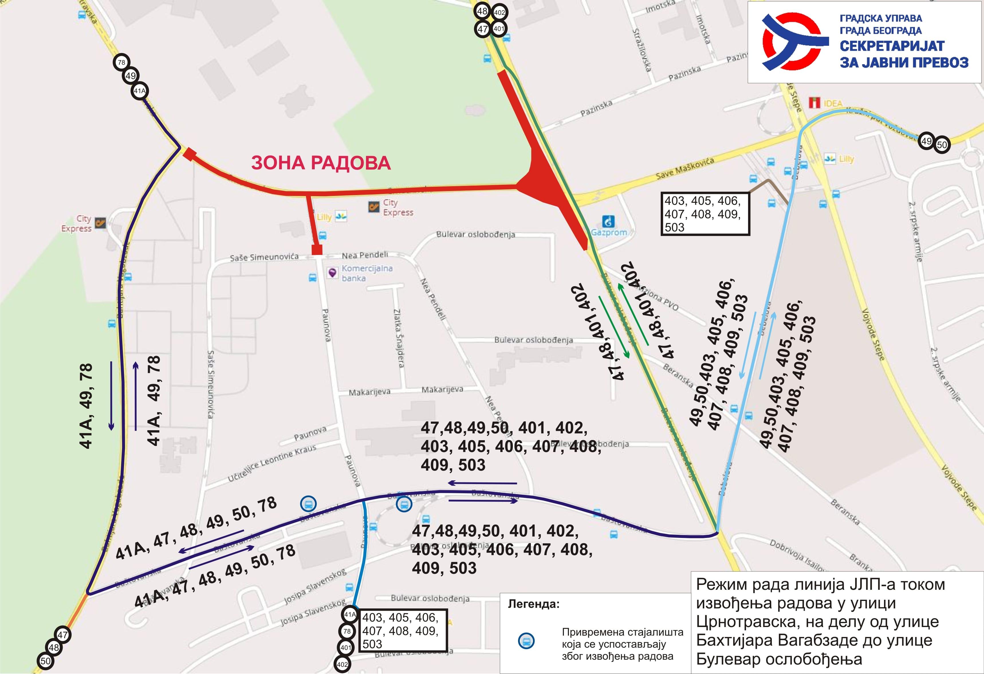 Mapa - Režim saobraćaja zbog radova u ulicama Save Maškovića, Crnotravska i Bulevar Oslobođenja (od 15.04.21)